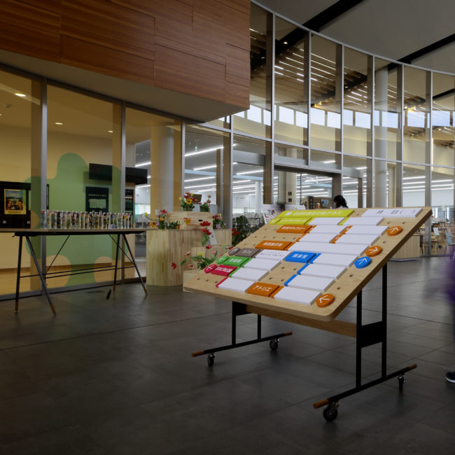 まなびあテラス | 展示棚 | 展示什器 | 山形・仙台を中心にオリジナル家具・オーダー家具、インテリアのデザイン・製作・納品をおこなっています。おしゃれ。